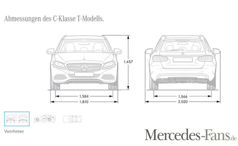 Abmessungen und Maße Mercedes-Benz C-Klasse T-Modell S 205 ...