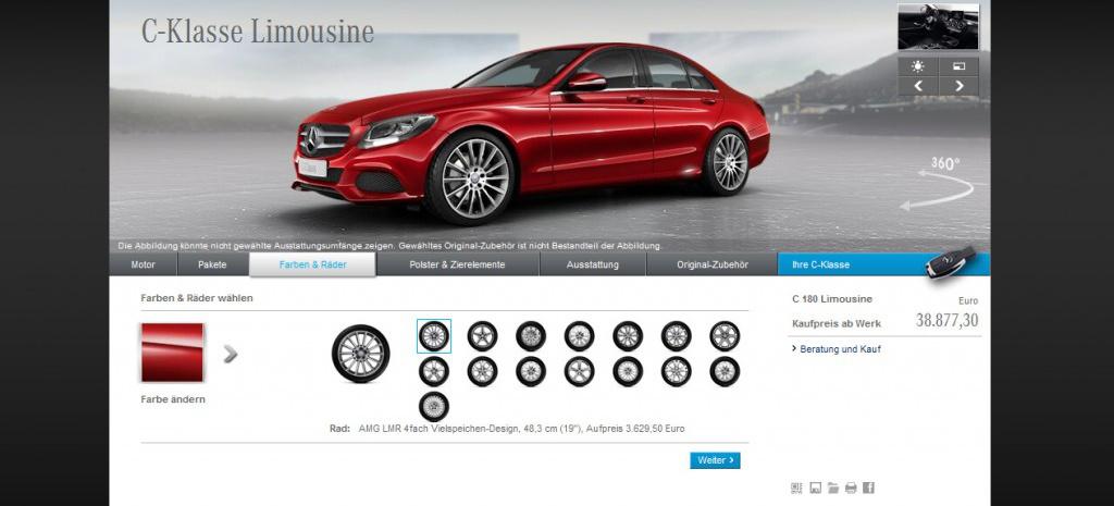 Online konfigurator f r die neue mercedes c klasse for Mercedes benz online