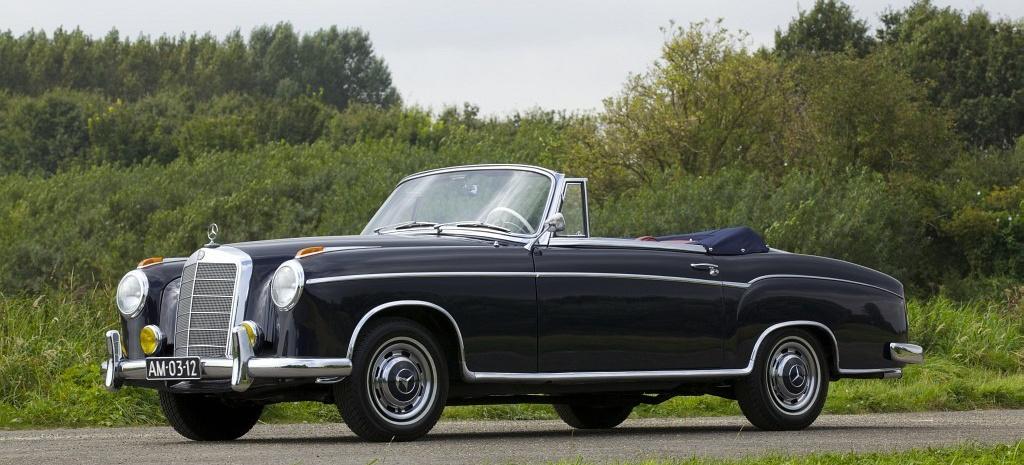 vollrestaurierter mercedes klassiker 1958er ponton 220s cabriolet nur exemplare von. Black Bedroom Furniture Sets. Home Design Ideas
