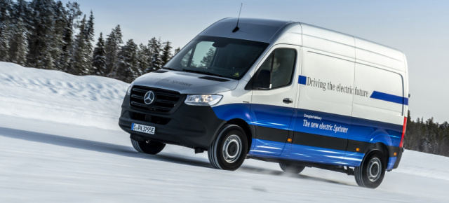 Mercedes-Benz eSprinter: Cool unter Strom: Mercedes-Benz eSprinter absolviert seine finale Wintererprobung am Polarkreis