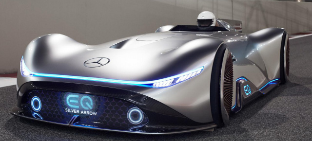 Faszination Elektropfeil: Mercedes Vision EQ Silver Arrow: Mit dem Mercedes Vision EQ Silver Arrow on the track