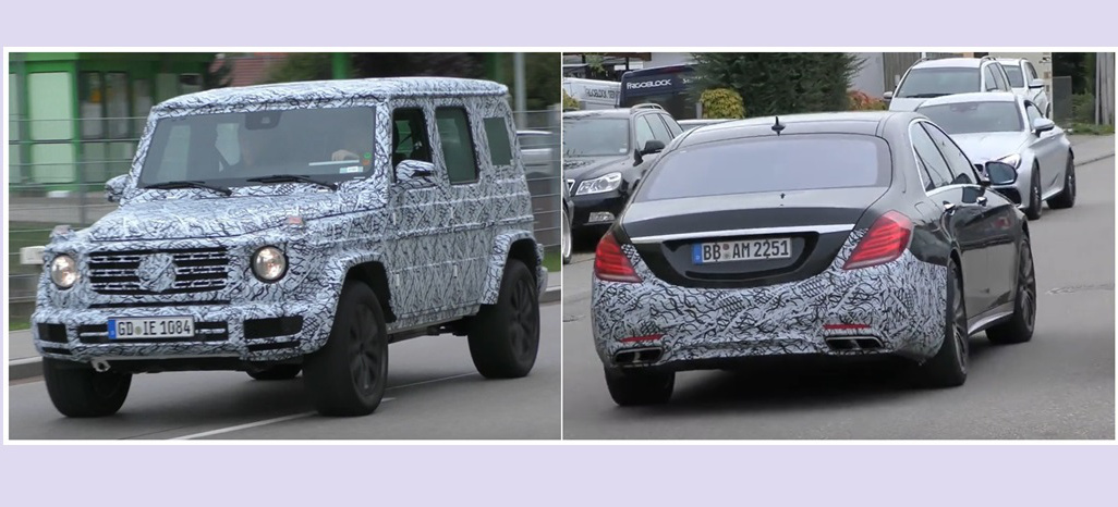 mercedes benz erlk nige neue g klasse und s klasse facelift im video spy shot mercedes g. Black Bedroom Furniture Sets. Home Design Ideas