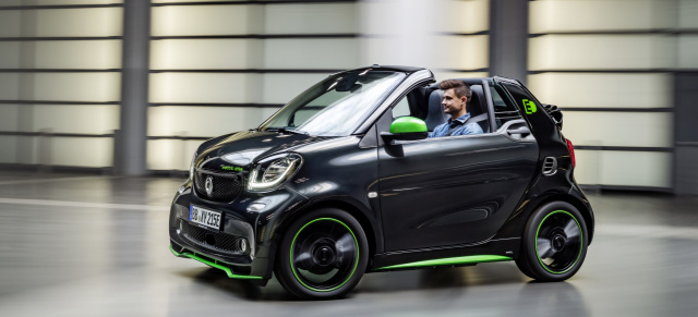smart electric drive: Exklusives Sondermodell zum Marktstart  : smart macht es spannend in der Stadt: Sondermodell smart electric drive greenflash ab 27.839 €