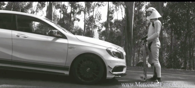 Video: Mercedes A45 AMG Edition 1 vs. Downhill Skateboard Champion: Zwei Supersportler demonstrieren die Grazie der Geschwindigkeit