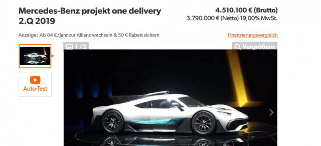 Mercedes Amg Project One 1 Verkaufsofferte Online Unmoralisches