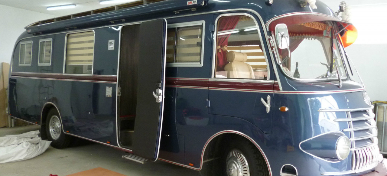 exklusives wohnmobil auf ebay 1955 mercedes op311 salamander bus classic mercedes fans. Black Bedroom Furniture Sets. Home Design Ideas