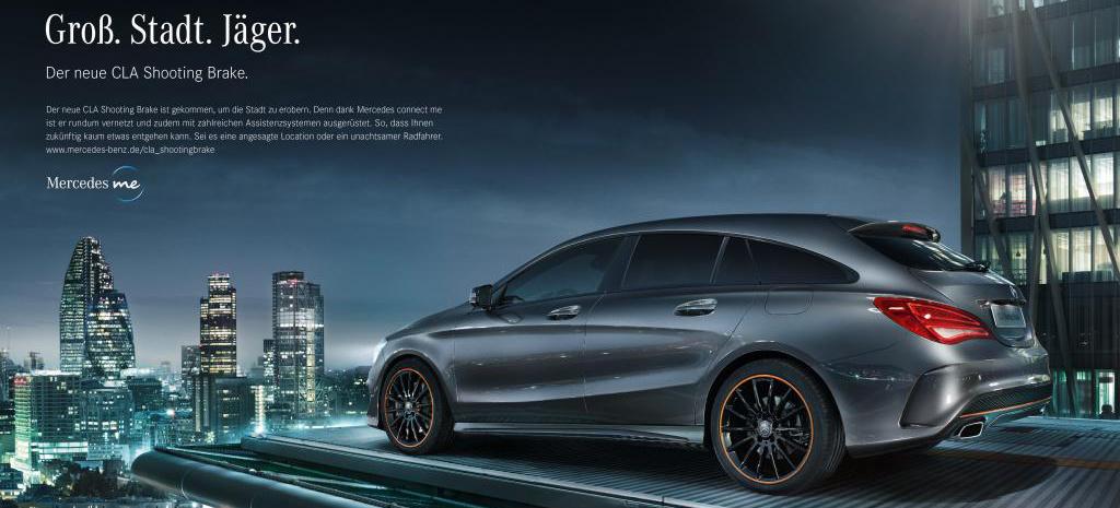 Mercedes benz cla shooting gro stadt j ger start for Mercedes benz slogan