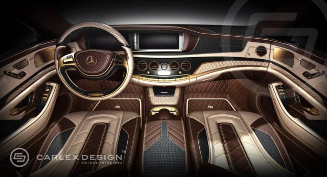 Gold leder luxus umm blierung der neuen mercedes s for Mercedes s interieur
