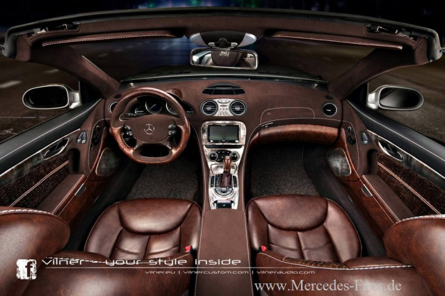 Armes schnappi vilner stattet mercedes sl mit krokoleder for Top 50 luxury car interior designs