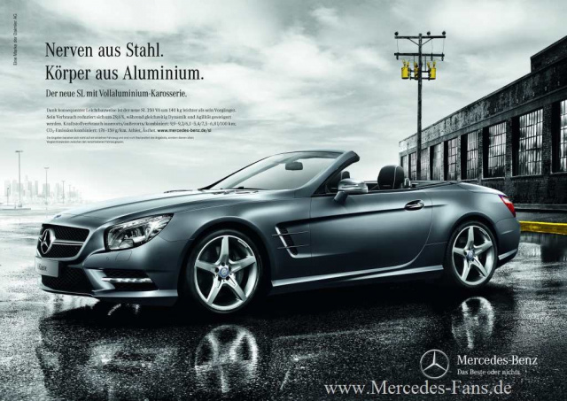 mercedes in der werbung kampagnenstart f r den mercedes benz sl mit berraschungs promi neuer. Black Bedroom Furniture Sets. Home Design Ideas